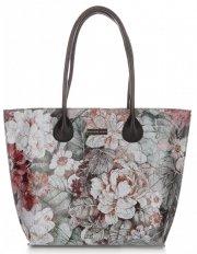 Duża Torba Skórzana Vittoria Gotti Kufer XL w Kwiaty Multikolorowa Czarna