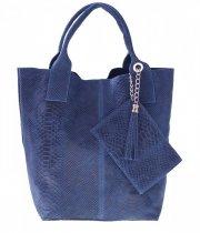 Włoskie Torebki skórzane typu Shopper bag Niebieska