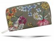 Dwukomorowe Portfele Damskie XL we wzór kwiatów David Jones Multikolor Khaki