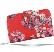 Modny Portfel Damski Diana&Co Firenze wzór Kwiatów Czerwony