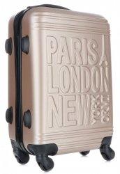 Modna Walizka Kabinówka Or&Mi Paris/London/NewYork 4 kółka Złota