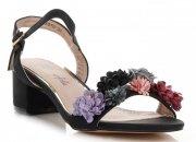 Modne Sandały Damskie w kwiaty firmy Lady Glory Czarne