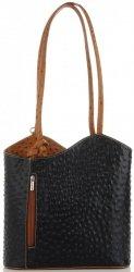Włoska Torebka Skórzana firmy Genuine Leather Czarna z rudym