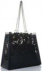 Vittoria Gotti Ekskluzywna Torba Skórzana Elegancki Włoski Ażurowy Shopper XL z Kosmetyczką Czarna