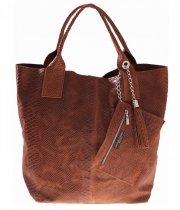 Włoskie Torebki skórzane typu Shopper bag Brąz