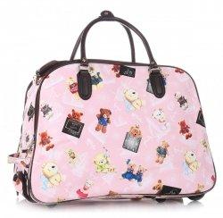 Cestovní taška na kolečkách s výsuvnou teleskopickou rukojetí Or&Mi Teddy Bear Multicolor - růžová