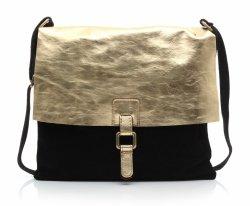 Módní kožená kabelka listonošky černá Gold