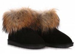 Kožené Dámské boty sněhule mýval/králík černé