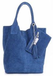 Kožené kabelky Shopperbag přírodní semiš Modrá