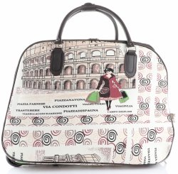 Cestovní taška na kolečkách s výsuvnou rukojetí Řím Or&Mi multicolor béžová
