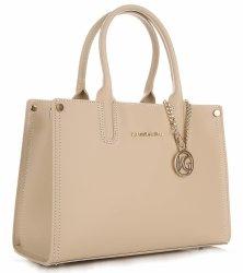 VITTORIA GOTTI Made in Italy Elegantní Dámská kabelka kožená kufřík béžový