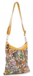Módní Kožená kabelka listonoška multicolor- Žlutá