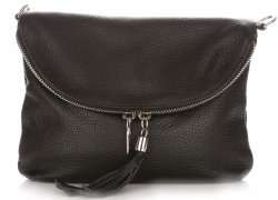 Dámská kožená kabelka listonoška Černá