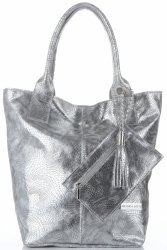 Italská Kožená Kabelka Shopper XL Vittoria Gotti stříbrná