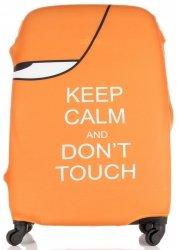 Pokrowiec na Walizkę firmy Snowball w rozmiarze L Keep Calm and don't touch Pomarańcz