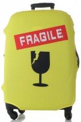Pokrowiec na Walizkę firmy Snowball w rozmiarze M Fragile Żółty