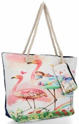 Modna Torebka Damska w rozmiarze XL wzór flaminga idealna na lato Różowa