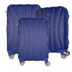 Solidny Zestaw Walizek Włoskiej firmy Or&Mi 3w 1 Niebieska