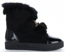 Modne i Eleganckie Sneakersy Damskie Śniegowce firmy Sergio Todzi Czarne