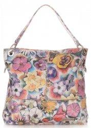 Uniwersalne Torebki Skórzane Vittoria Gotti we Wzory Kwiatów Multikolorowe Beżowa