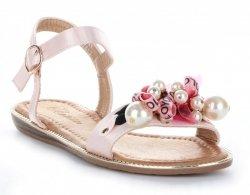 Sandały Damskie z koralikami Różowe