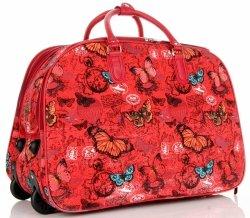 Torba Podróżna na kółkach ze stelażem Motyle Or&Mi Multikolor Czerwona