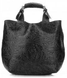 Torebki Skórzane Genuine Leather Ponadczasowy ShopprBag z Kosmetyczką Czarna