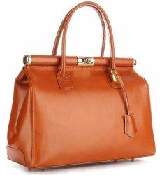Duży Włoski Kufer ze Skóry Licowej Genuine Leather Rudy