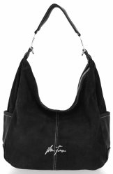 Univerzálna Dámska príležitostná taška Velina Fabbiano pravá semišová / ekologická koža čierna