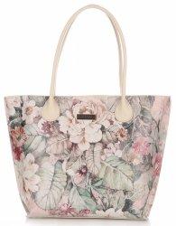 Veľká kožená taška Vittoria Gotti Kvetinová taška XL viacfarebná Béžová