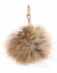 Kľúčenka na tašky Veľké prírodné Pompon vlasy mýval pes hnedý