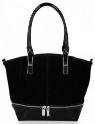 Elegantné dámske tašky Silvia Rosa pravý semiš / eko-koža čierna