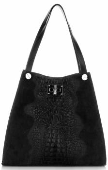 Velká dámská kožená kabelka Shopper motiv Aligátor Černá