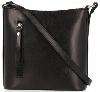 Kožená kabelka listonoška Genuine Leather Pelle Černá