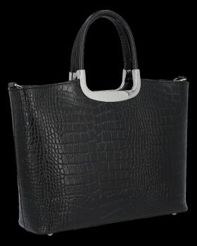 Elegantní Kožená Kabelka Kufřík s motivem aligátora Vittoria Gotti Made in Italy Černá
