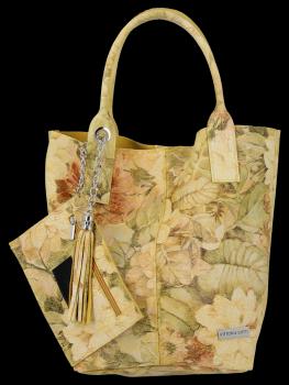 Módní Kožené Dámské Kabelky Shopper Bag s květinovým vzorem Vittoria Gotti Žlutá