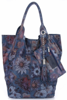 VITTORIA GOTTI Made in Italy Módní Kožená kabelka Shopperbag vzor v květech multicolor - modrá