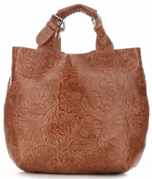 Kožená kabelka Shopperbag s kosmetickou kapsičkou Zrzavá