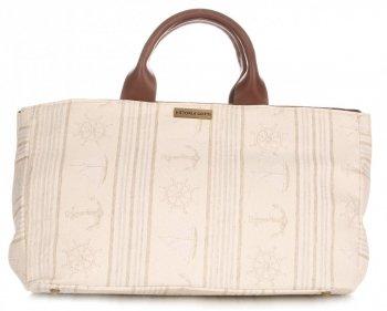 Univerzální kožená italská kabelka Vittoria Gotti kormidlo béžová