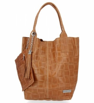 Módní Kožené Dámské Kabelky Shopper Bag XL Vittoria Gotti Zrzavá