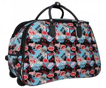Cestovní taška na kolečkách s výsuvnou rukojetí Or&Mi Kiss Multicolor Černá