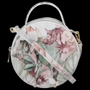 Kulatá Kožená Kabelka Listonoška s květinovým vzorem Vittoria Gotti Bílá