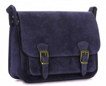 kožená kabelka listonoška Genuine Leather  Tmavě modrá