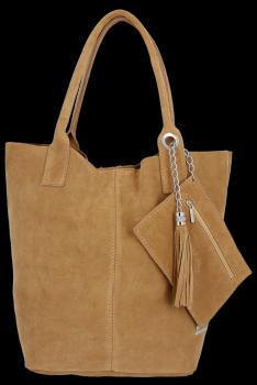 Kožené kabelky Vittoria Gotti Shopper bag Carmel
