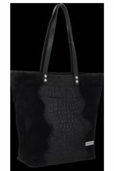 Kožené Dámské Kabelky Shopper s motivem aligátora Vittoria Gotti Černá