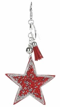 Přívěšek ke kabelce Stars s krystalky a korálky červená