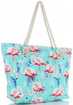 Univerzální Plážová dámská kabelka XXL plameňáci vícebarevný tyrkysová