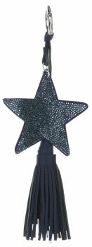 Dvoustranný Přívěšek ke kabelce Stars se zirkony a silným střapcem tmavě modrá