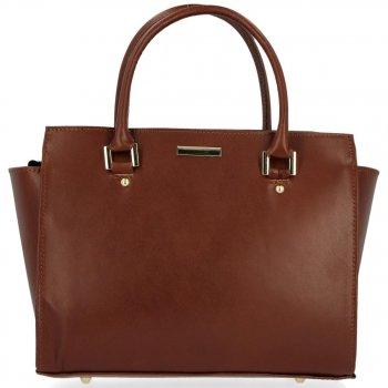 Módní kožená kabelka kufřík Hnědá