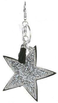 Přívěšek ke kabelce Stars s krystalky a korálky stříbrná